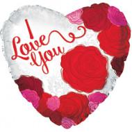 Воздушный шар (18''/46 см) Сердце, Я люблю тебя (розы), Красный, 1 шт.